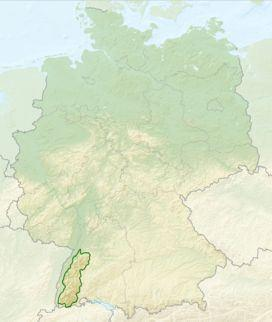 Map of Germany with outlines of the Black Forest
